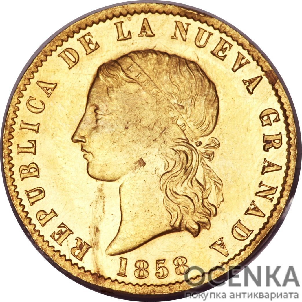 Золотая монета 10 Песо (10 Pesos) Колумбия - 1