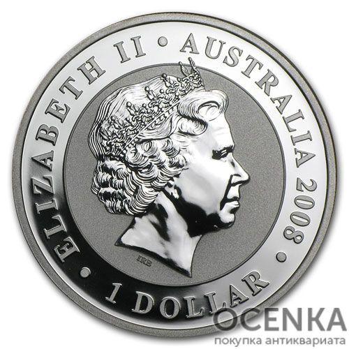 Серебряная монета 1 доллар 2008 год. Австралия. Коала - 1