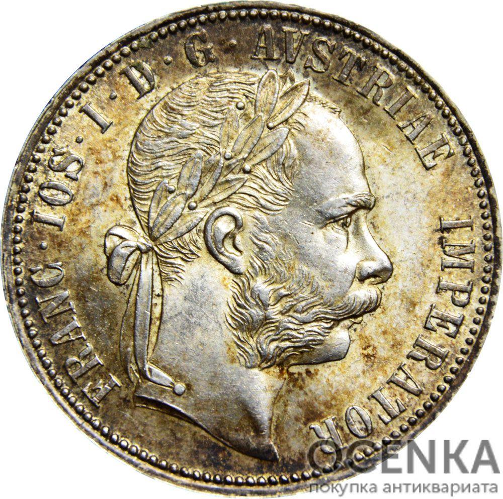 Серебряная монета 1 Флорин (1 Florin) Австро-Венгрия - 3