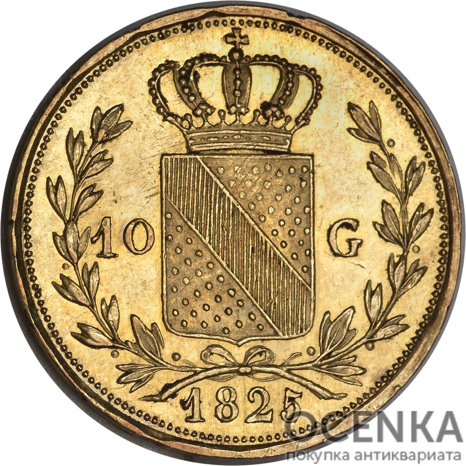 Золотая монета 10 Гульденов Германия