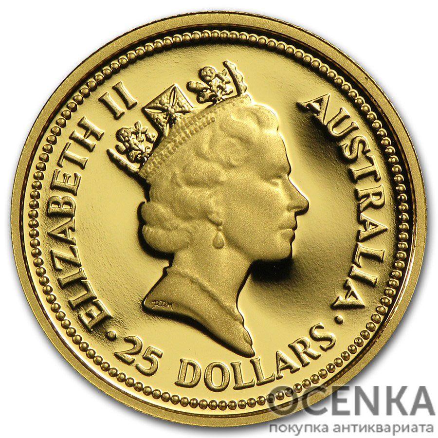 Золотая монета 25 долларов 1989 год. Австралия. Красный кенгуру - 1