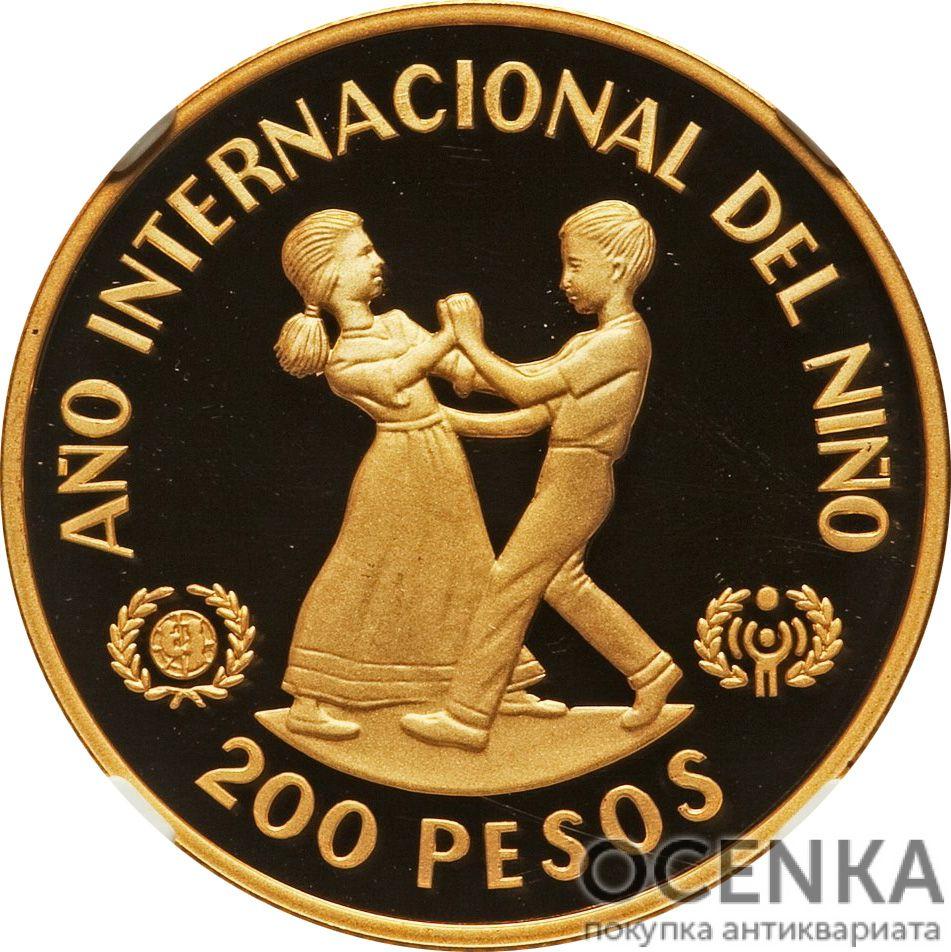 Золотая монета 200 Песо (200 Pesos) Доминикана - 2