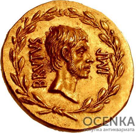 Золотой ауреус, Марк Юний Брут, 43-42 год до н.э.