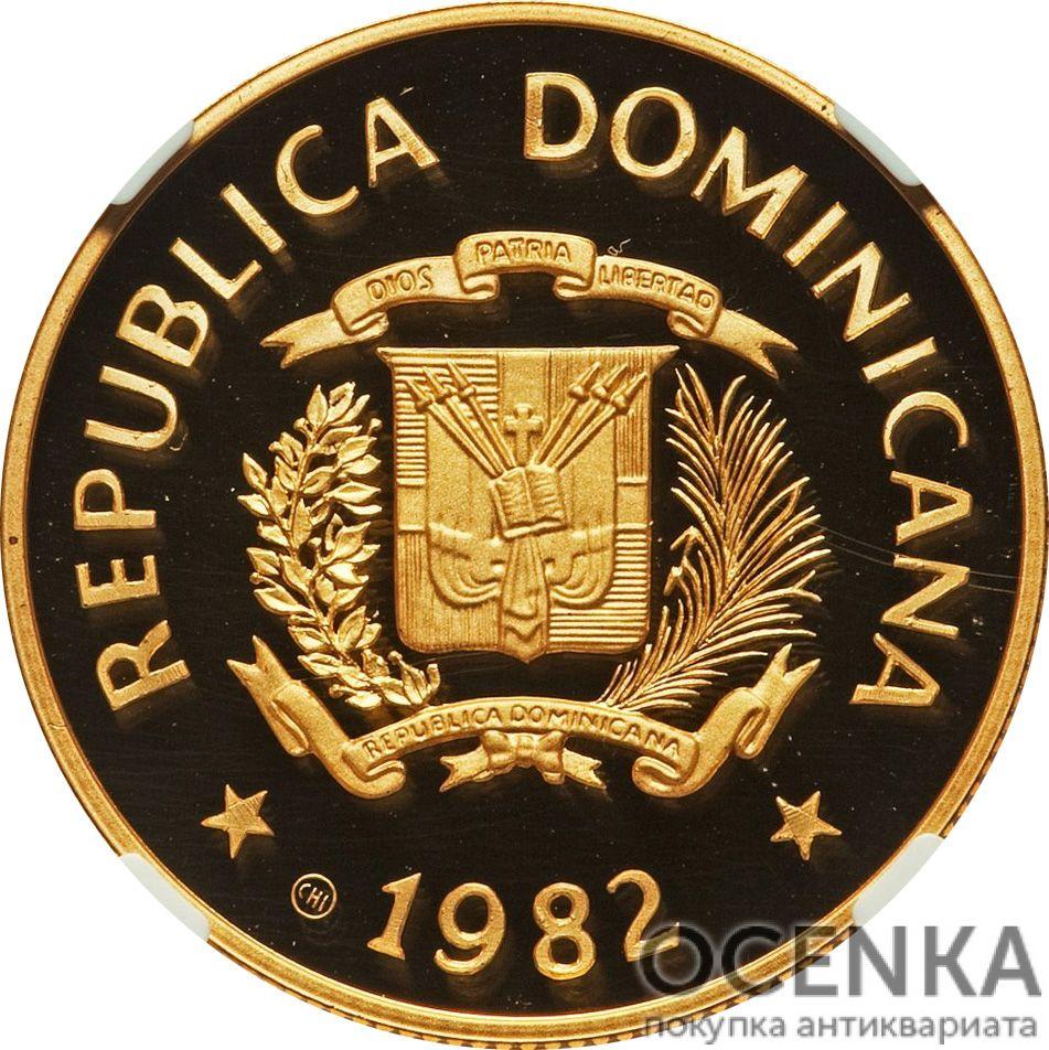 Золотая монета 200 Песо (200 Pesos) Доминикана - 3