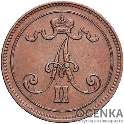 Медная монета 10 пенни Александра 2 (для Финляндии) - 1