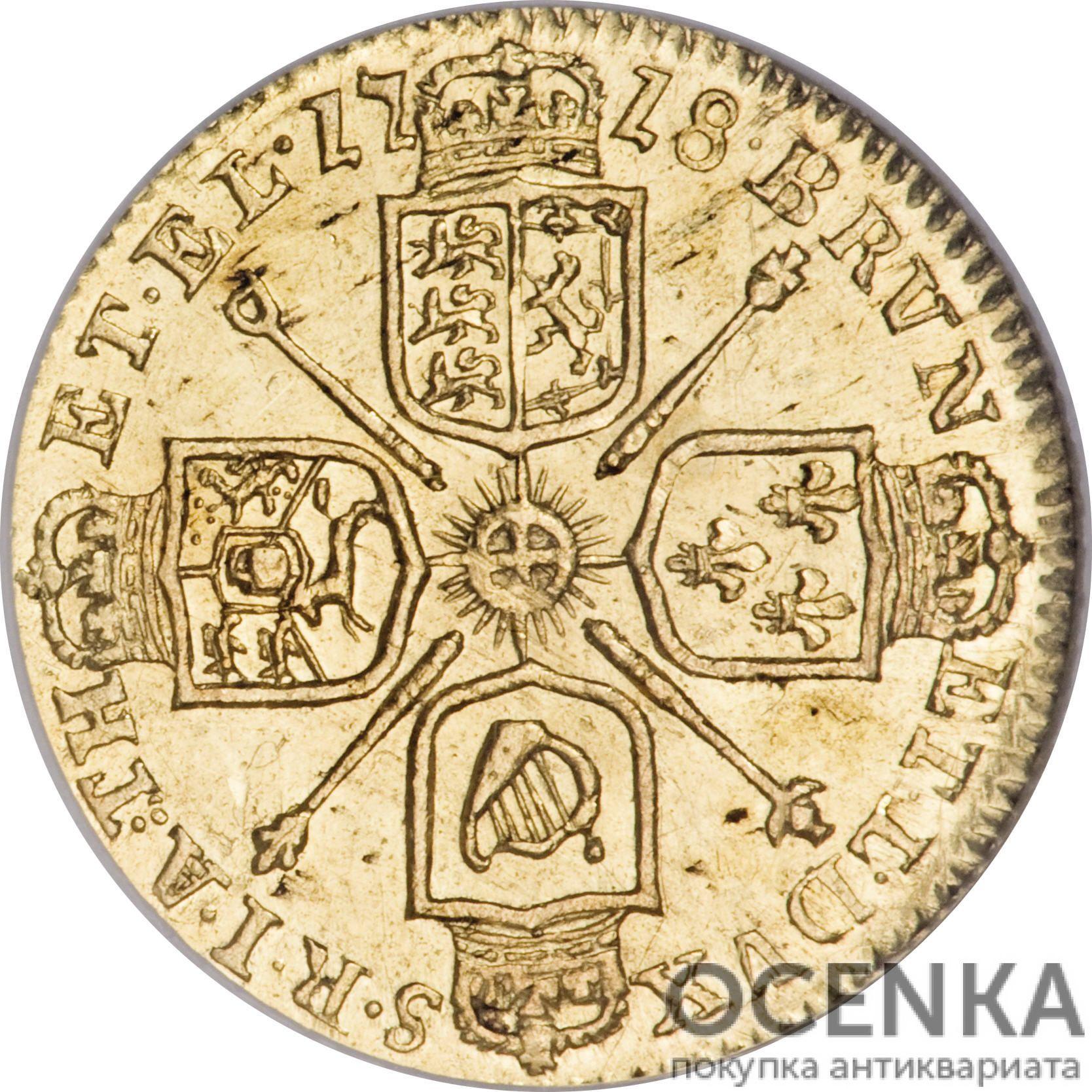 Золотая монета ¼ Guinea (1/4 гинеи) Великобритания