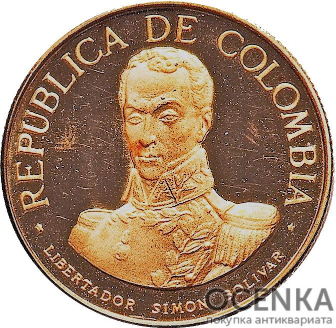 Золотая монета 100 Песо (100 Pesos) Колумбия - 3