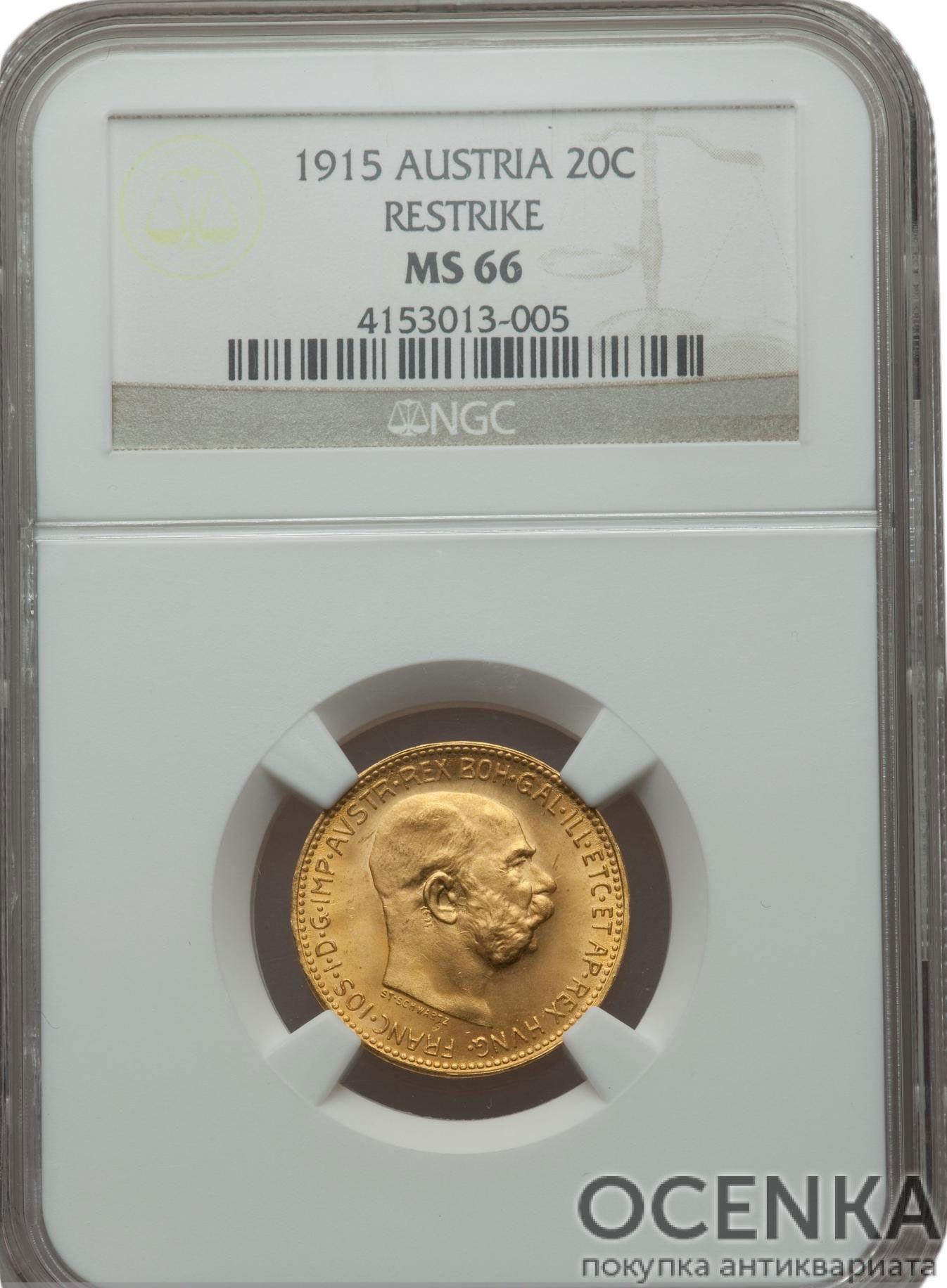 Золотая монета 20 Крон Австро-Венгрии в слабе