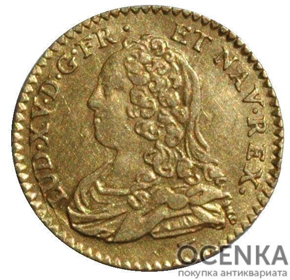 Золотая монета ½ Дьёра (½ d'Or) Франция - 5