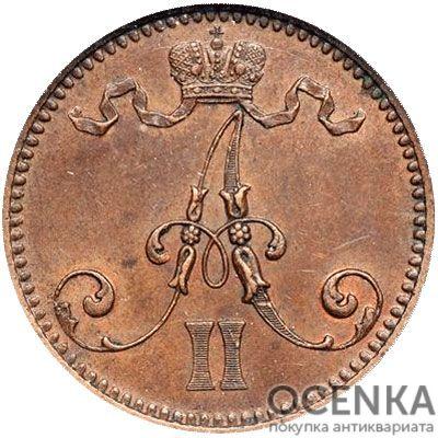 Медная монета 5 пенни Александра 2 (для Финляндии) - 1