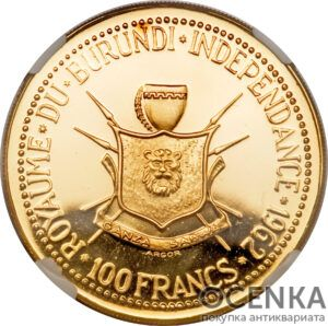Золотая монета 100 Франков (100 Francs) Бурунди