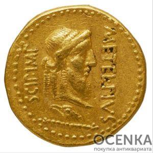Золотой ауреус, Марк Лициний Красс и Метелл Сципион, 47-46 год до н.э.