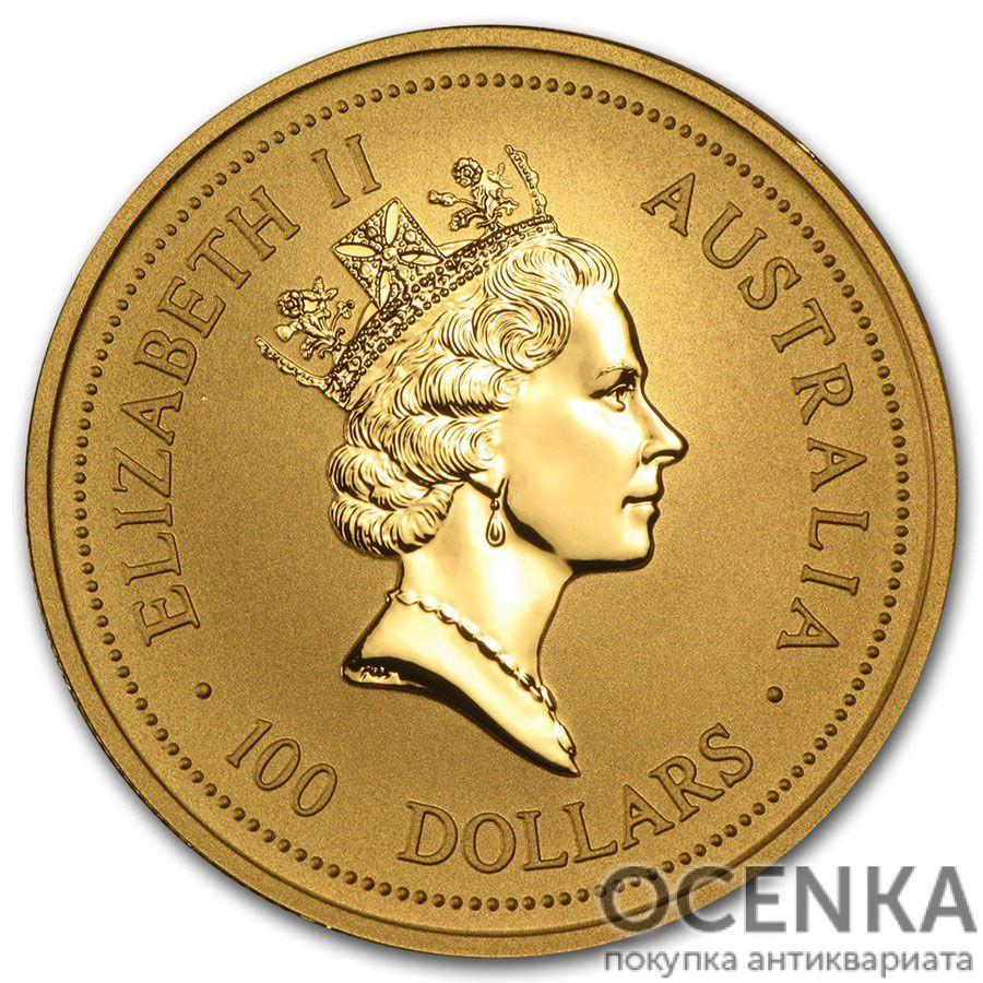 Золотая монета 100 долларов 1998 год. Австралия. Лунар. Год Тигра - 1