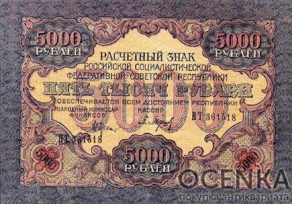 Банкнота РСФСР 5000 рублей 1919-1920 года