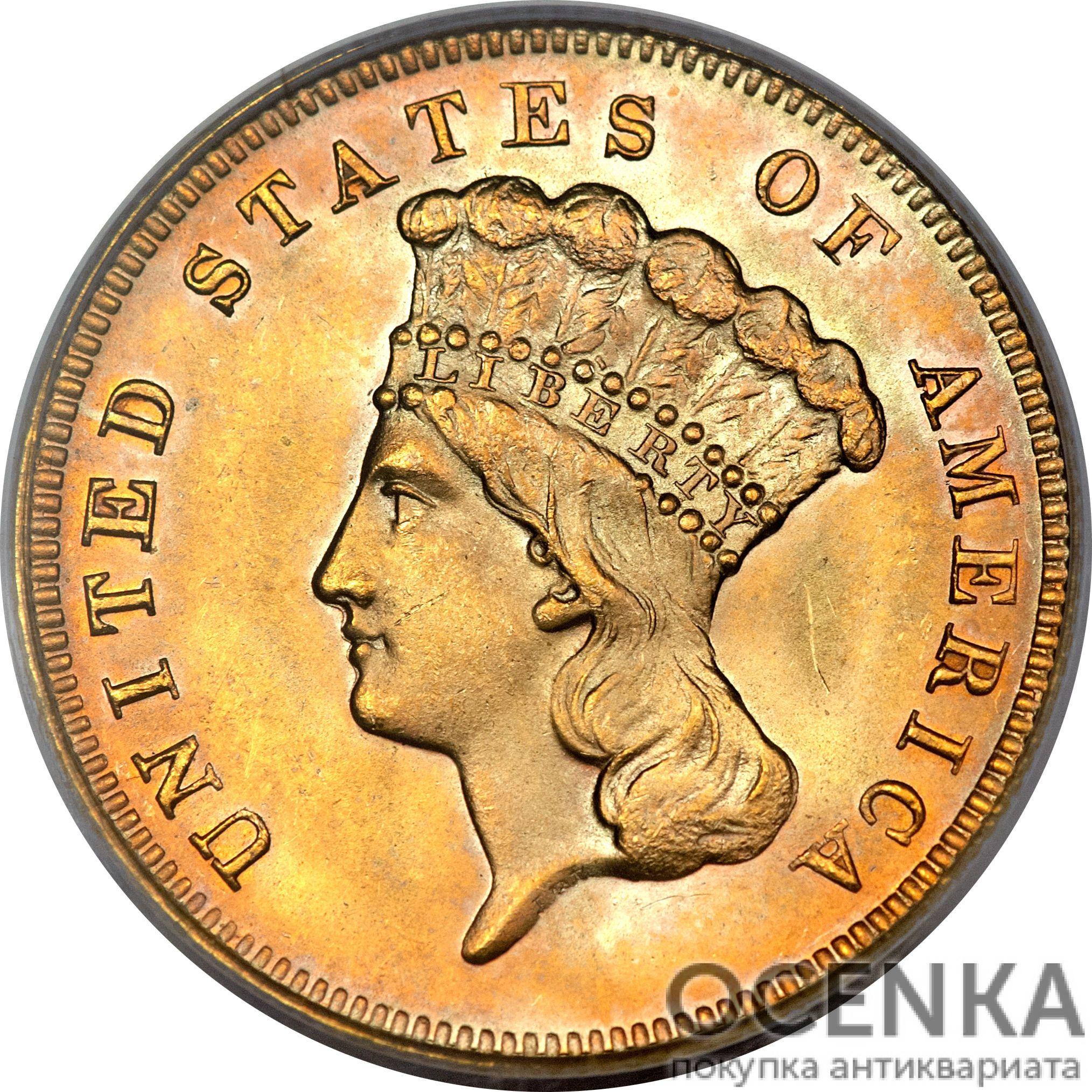 Золотая монета 3 Dollars (3 доллара) США - 1