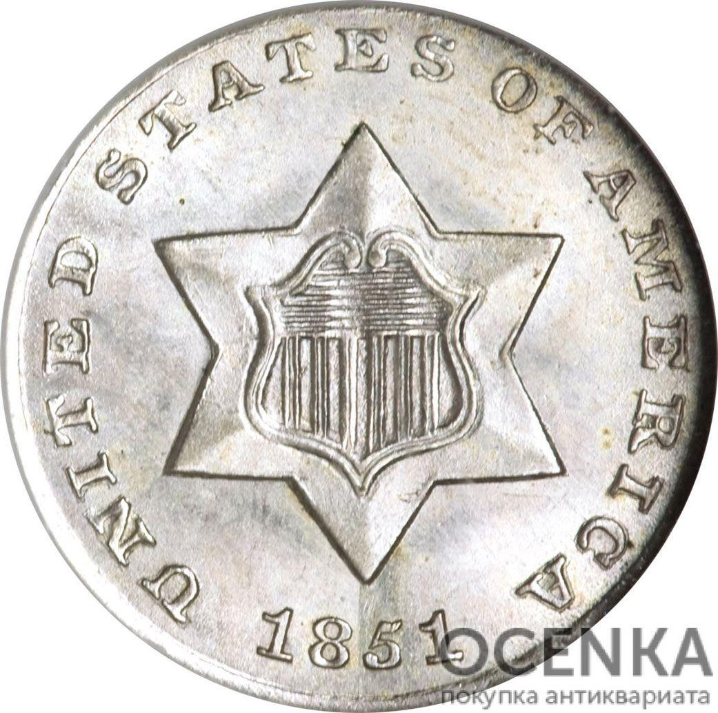 Серебряная монета 3 цента (3 Cent) США - 1