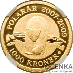 Золотая монета 1000 Крон (1000 Kroner) Дания