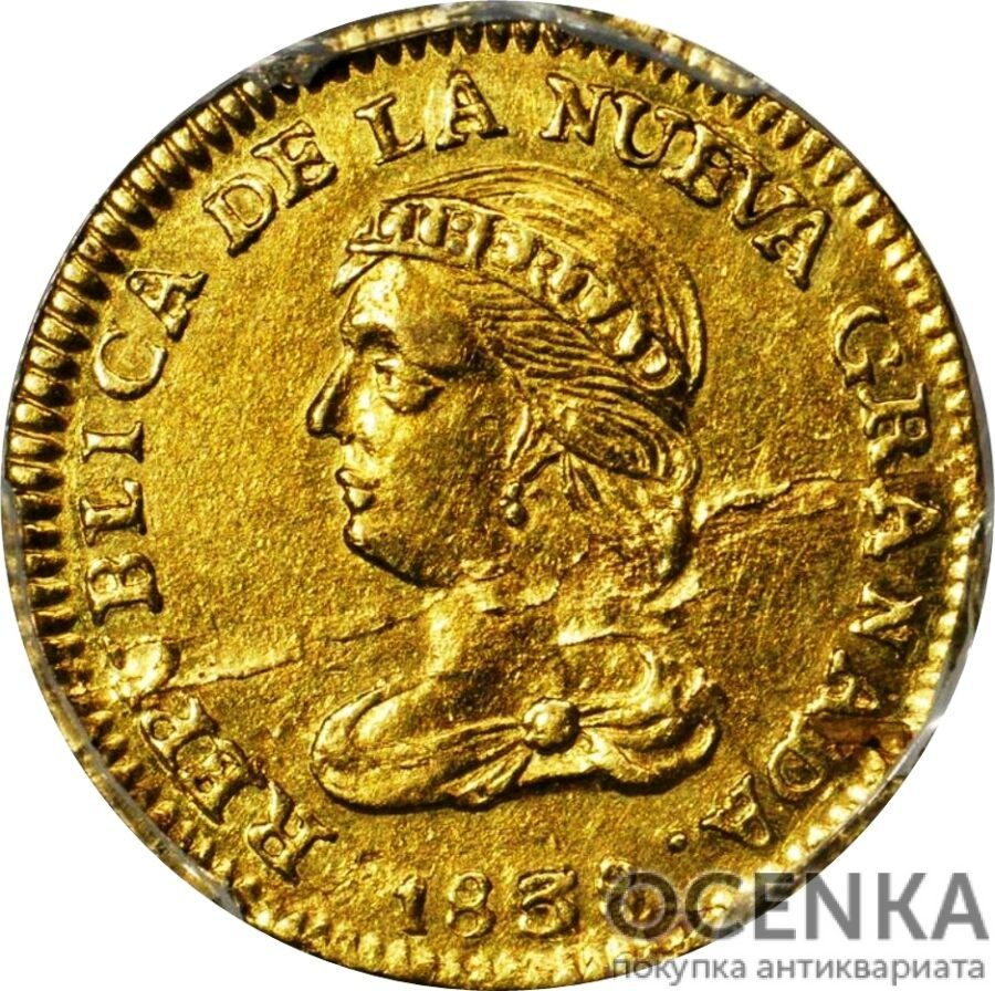 Золотая монета 2 Песо (2 Pesos) Колумбия - 1