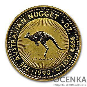 Золотая монета 15 долларов 1990 год. Австралия. Красный кенгуру