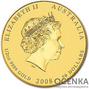 Золотая монета 50 долларов 2008 год. Австралия. Лунар. Год Крысы