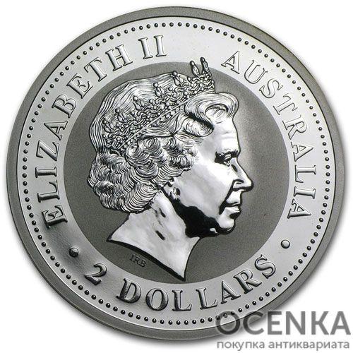 Серебряная монета 2 доллара 1999 год. Австралия. Лунар. Год Зайца - 1
