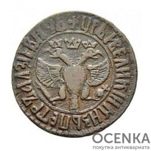 Медная монета Денга (1/2 копейки) Петра 1 - 7