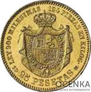 Золотая монета 25 Песет (25 Pesetas) Испания - 2