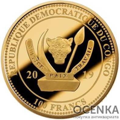 Золотая монета 100 Франков (100 Francs) Конго - 4