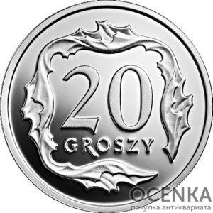 Серебряная монета 20 Грошей (20 Groszy) Польша