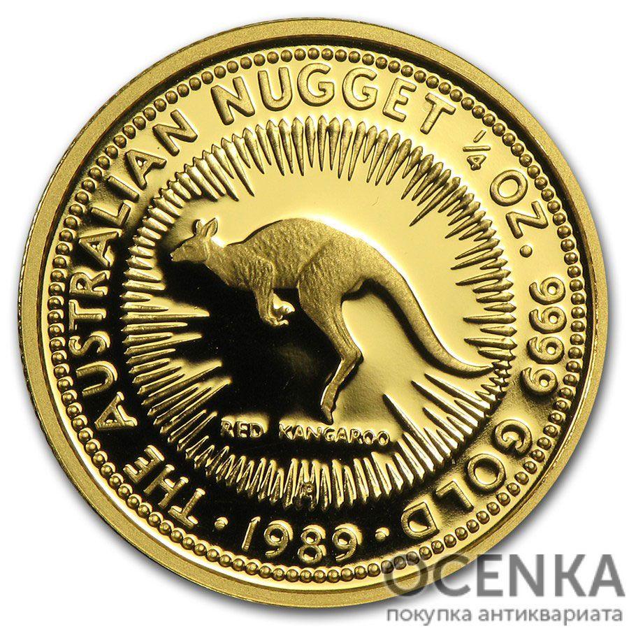 Золотая монета 25 долларов 1989 год. Австралия. Красный кенгуру