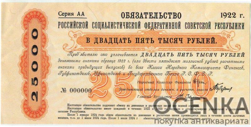 Банкнота РСФСР 25000 рублей 1922 года