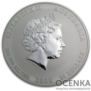 Серебряная монета 30 долларов 2008 год. Австралия. Лунар. Год Крысы