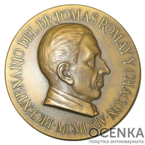Памятная настольная медаль 200 лет со дня рождения Т.Ромая