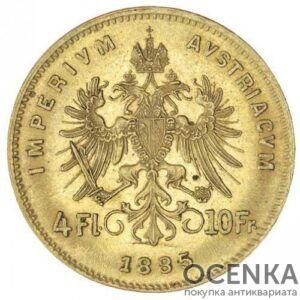 Золотая монета 4 флорина (10 франков) Австро-Венгрии