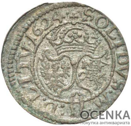 Серебряная монета Двойной Денарий Средневековой Литвы