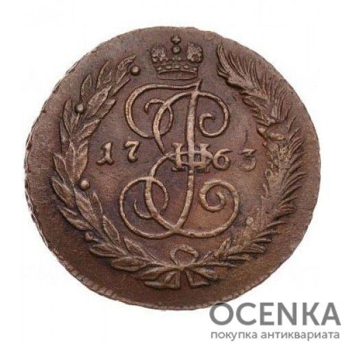 Медная монета 2 копейки Екатерины 2 - 9