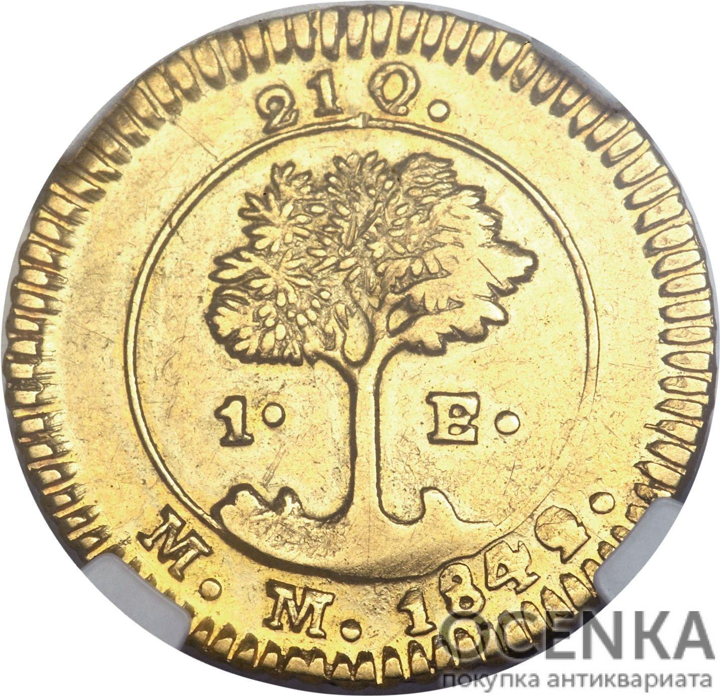 Золотая монета 1 Эскудо (1 Escudo) Коста Рика