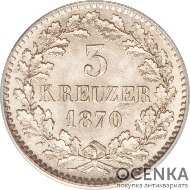 Серебряная монета 3 Крейцера (3 Kreuzer) Германия - 4