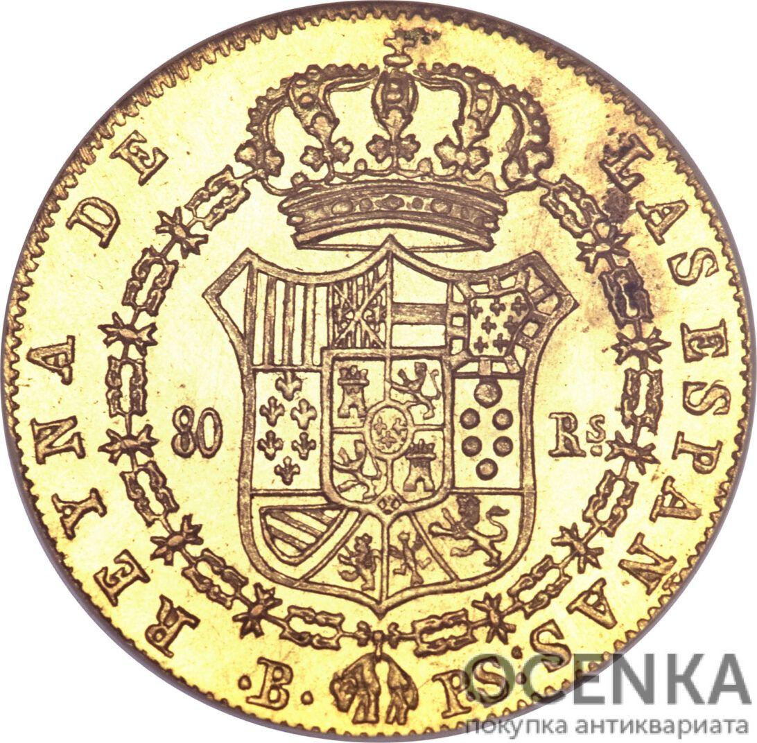 Золотая монета 80 Реалов (80 Reales) Испания - 6