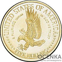 Золотая монета 5 Dollars (5 долларов) США - 10