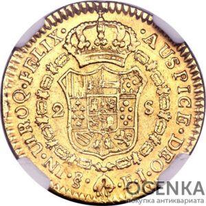 Золотая монета 2 Эскудо (1 Escudos) Чили