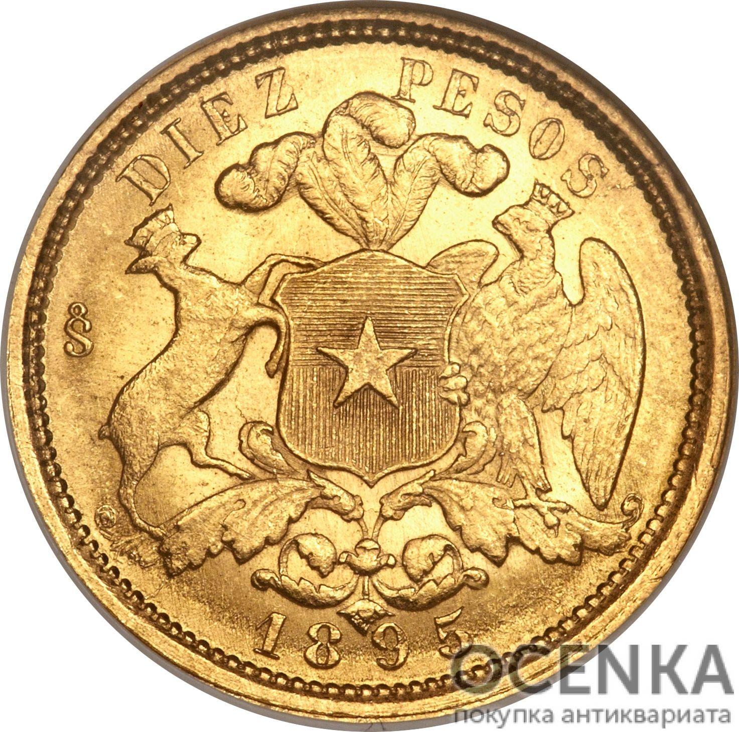 Золотая монета 10 Песо (10 Pesos) Чили - 2
