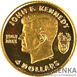 Золотая монета 4 доллара Виргинских островов