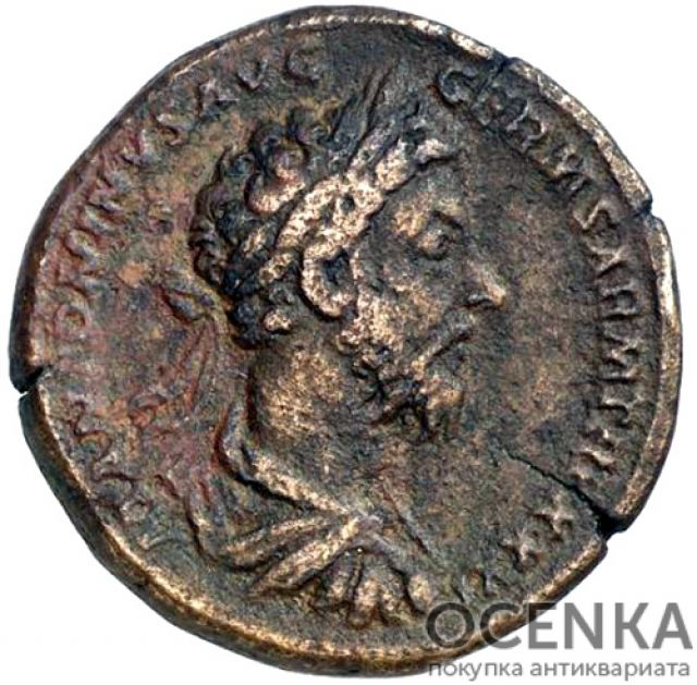 Медная монета Сестерций древнего Рима