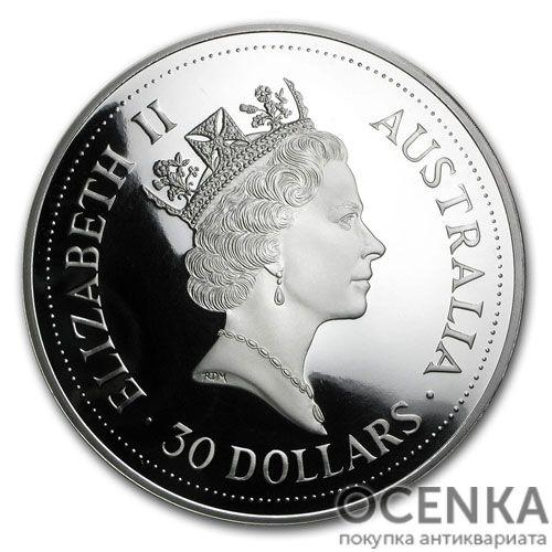 Серебряная монета 30 долларов 1993 год. Австралия. Кукабарра - 1