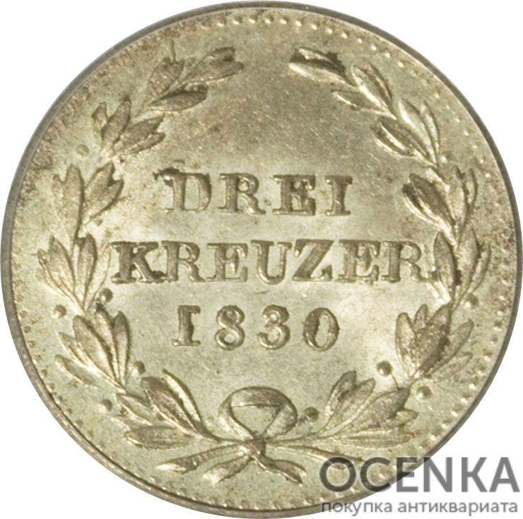 Серебряная монета 3 Крейцера (3 Kreuzer) Германия - 2