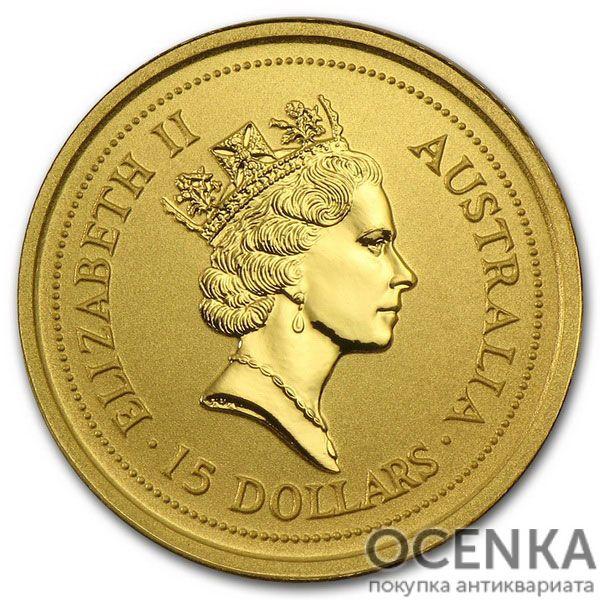 Золотая монета 15 долларов 1996 год. Австралия. Лунар. Год Крысы - 1