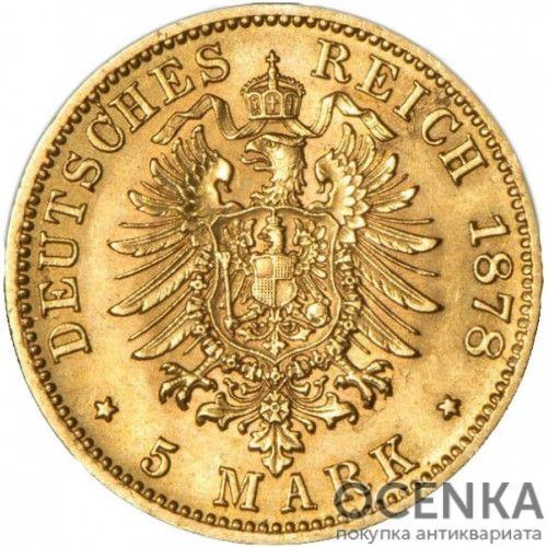 Золотая монета 5 Марок Германия - 8