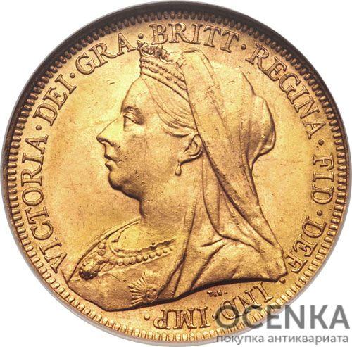 Золотая монета 1 фунт 1893-1901 годов. Австралия. Королева Виктория