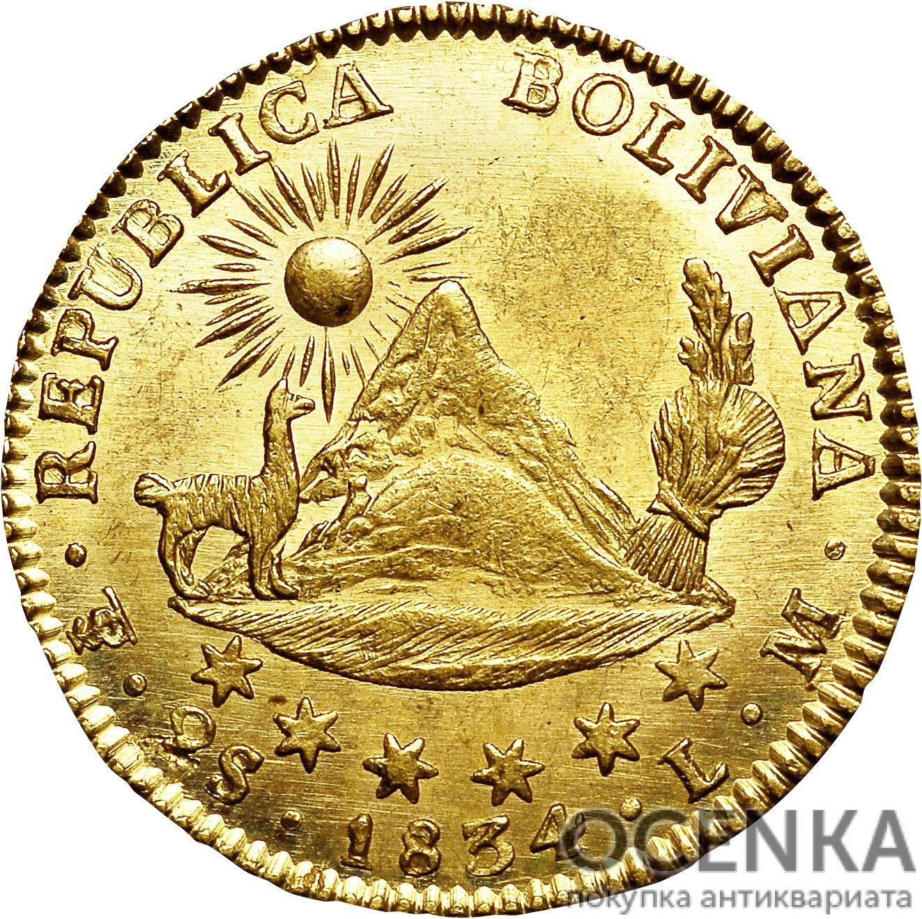 Золотая монета 2 скудо (2 Scudos) Боливия